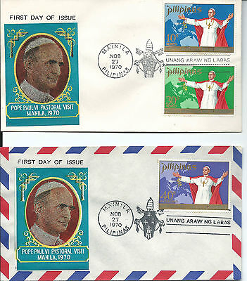 1970 Pope's Visit to Manila set of 3 on two FDC's Unaddressed special Postmark