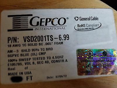 Gepco VSD2001TS Plenum RG6/U HD-SDI 4.5GHz Low-Loss Video Coaxial Cable Blu/40ft