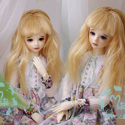"New 3-4"" 9-10cm Sweet Golden Long Curly Wig For 1/12 BJD OB DK LATI XAGA PULLIP"