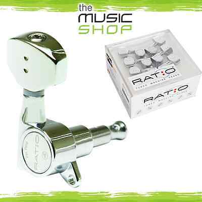Graph Tech Ratio Tuned Machine Heads - 3 A Side, Contemporary Buttons - GTR441