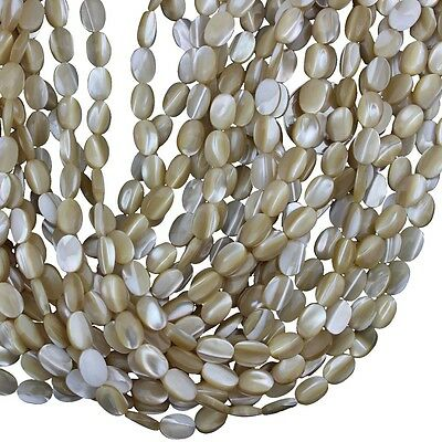Wholesale Natural MOP Sea Shell Oval Loose Beads for Jewelry Making Strand 15""