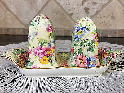 RARE Royal Winton Grimwades Chintz Salt and Pepper with Matching Tray