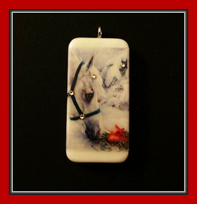 Gorgeous White Pony In The Snow With Wreath -  Christmas Pendant