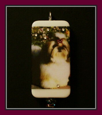 I Am Too Cute - Little Shih Tzu Dog Domino Necklace With Swarovski Crystals