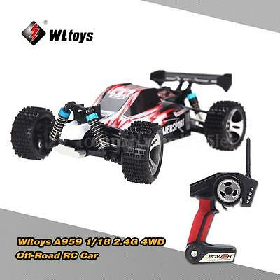 Originale WLtoys A959 1/18 1:18 Scala 2.4G 4WD RTR Off-Road Buggy RC Auto Rosso