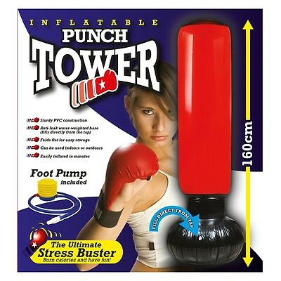 Inflatable Stress Boxing Punching Tower Free Standing. Fun Workout Bag With Pump