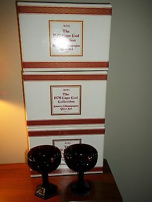Avon Cape Cod Ruby Red Glass Stems Lot of 6 Saucer Champagne MIB