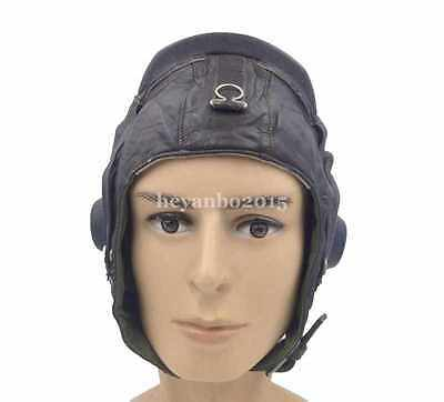 Military Surplus Chinese Air Force Pilot Aviator Cap Hat Size L Leather Hat