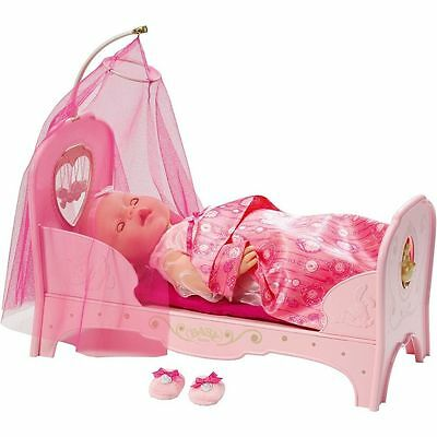 Baby Born Doll Interactive Princess Bed Pink Girls Toy Accessory Lights & Music