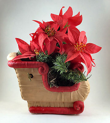 Musical Sleigh with Poinsettia Plant