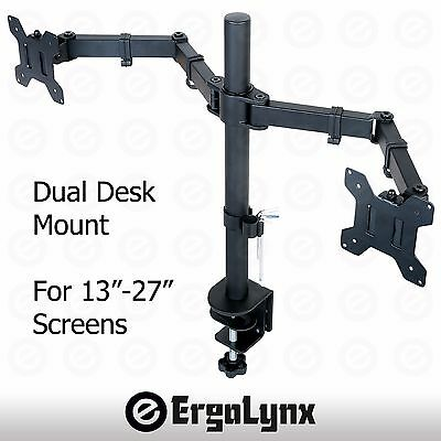 "Double LCD Monitor Twin TV Arm Desk Mount Computer Screen Bracket Dual 2 13""-27"""