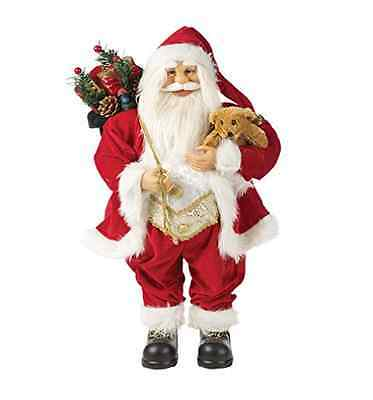 Santa Claus Figure Christmas Ornament Father Xmas Standing Traditional Coat Red
