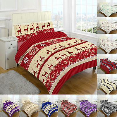 Flannelette Thermal Printed Duvet Cover 100% brushed cotton Single Double King