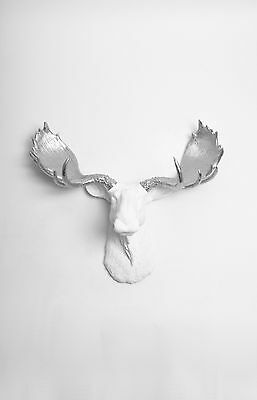 The Adobe - Large White Faux Moose Head With Silver Antlers Wall Mount Taxidermy
