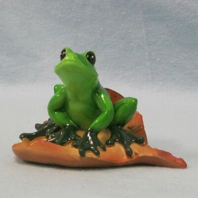 Tree Frog on Brown Leaf Figurine