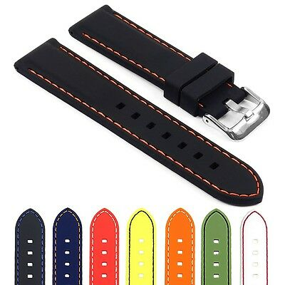 StrapsCo Premium Silicone Rubber Waterproof Mens Watch Strap Divers Band