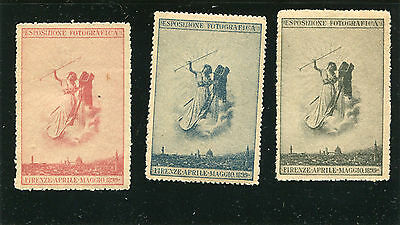 Poster Stamp set of 3 ESPOSIZIONE FOTOGRAFICA 1899 Firenze Italy photograph #IM