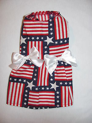 Stars and Stripes Flag 4th of July Dress Dog Puppy Pet Clothes XXXS - Large