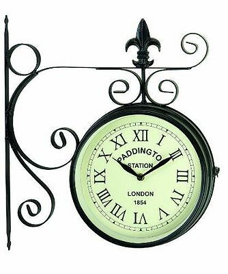 """New Paddington Station Clock and Wall Bracket 9"""" Garden Double Sided Outdoor"""