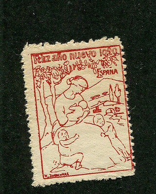 Vintage Poster Stamp Label 1920 FELIZ ANO NUEVO Happy New Year Espana Spain red