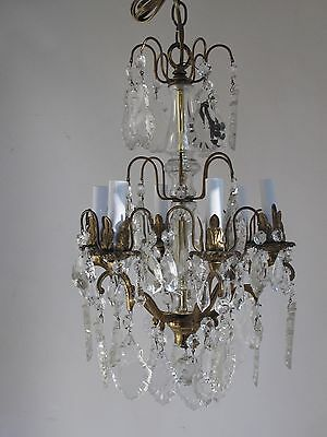 Vintage  Crystal Chandelier 6 Light New Wiring
