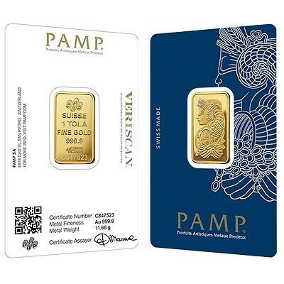 Lot of 2 - 1 Tola Gold Bar PAMP Suisse Lady Fortuna Veriscan .9999 Fine (In Assa