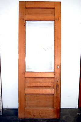 Antique 1900s Quarter Sawn Oak Entry Door w Beveled Glass, Architectural Salvage