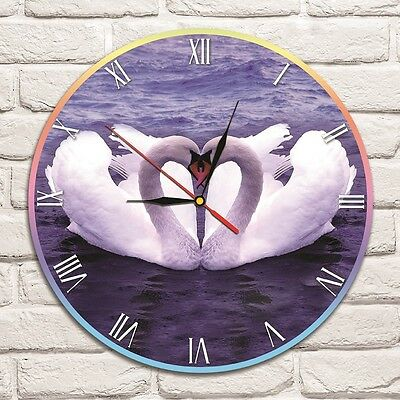 Swan's in Love color design vinyl record wall clock playroom shop office heart 1