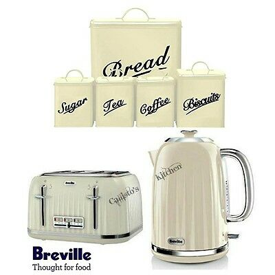 Breville Impressions Kettle and Toaster Set with 5 Piece Cream Canister Set New