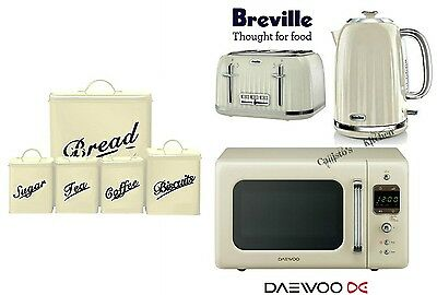 Breville Cream Kettle and Toaster with Daewoo Microwave & 5 Piece Canister Set
