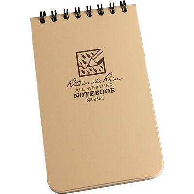 """Rite in the Rain 935T All-Weather Universal Spiral Notebook, Tan, 3"""" x 5"""""""