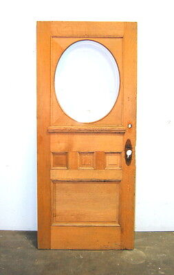 Antique Quarter Sawn Oak Entry Door w/ Oval Beveled Glass, Architectural Salvage
