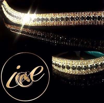 Bling ICE Crystal Stone Dressage Luxury Browband. Gold & Black. Sparkly.