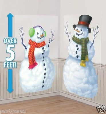 Christmas Party Snowmen Scene Setter Add On Prop Hanging Wall Banner  Decoration
