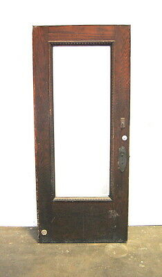 Antique Oak Beveled Glass Entry Door w/ Egg & Dart Trim, Architectural Salvage