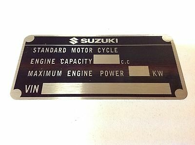 Suzuki Motorcycle data plate M.O.T. quality vin-tage new