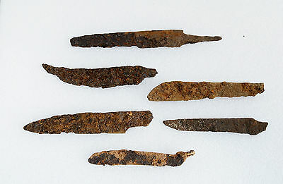 LOT of 6 ANCIENT Medieval KNIFE BLADE ROMAN ARTIFACT - Metal detector Found