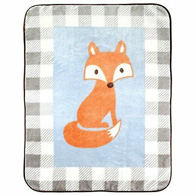 """Luvable Friends Character High Pile Blanket, Blue Fox, 30"""" x 40"""""""