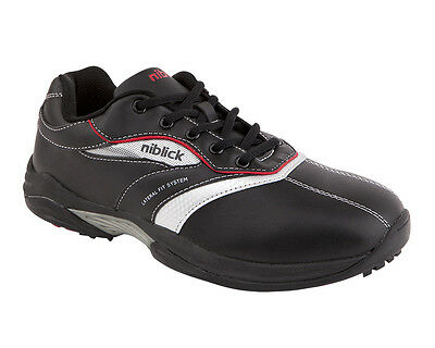 New Niblick Portsea Mens Black/grey Golf Shoes - Choose From Size Range