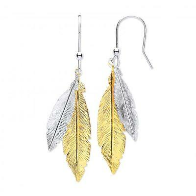 925 Sterling Silver/Gold Double Feather Drop Nature Earrings Christmas Gift Box