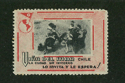 Poster Stamp Label VINA DEL MAR CHILE  cowboys guachos tourism #IM