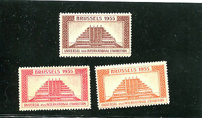 Poster Stamp Label set of 3 BRUSSELS 1935 International Exhibition Worlds Fair