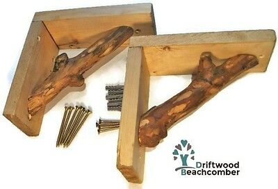 Pair of Driftwood Log Shelf Brackets - Rustic Reclaimed Chunky Strong Wooden