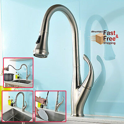 Kitchen Sink Faucet Pull Down Sprayer Modern Streamline Design, Brushed Nickel