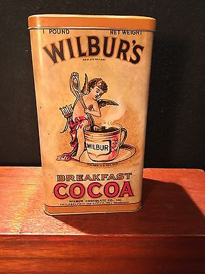 Vintage Advertising Tin Wilbur's Breakfast Cocoa Chocolate Cherub Damer NY Old