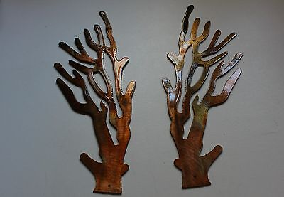Coral Branch Style 2 Mirrored Pair Metal Wall Art Decor