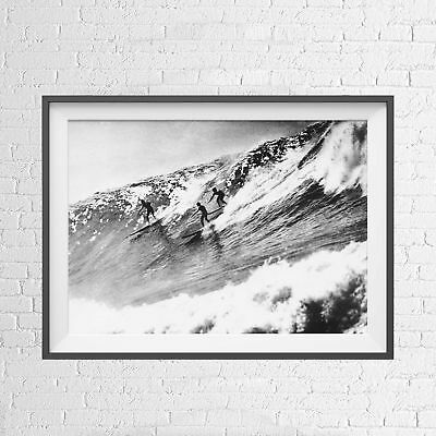 SURFERS BIG WAVES LIFESTYLE VINTAGE POSTER PICTURE PRINT Size A5 to A0 **NEW**
