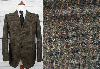 Vintage 1960s 3 Button High Fit Dark Weave Harris Tweed Jacket Mod -42S- DC48