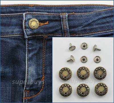 6pc 17mm Antique Bronze Jeans Denim Buttons Hammer Press Repair Replace Tack