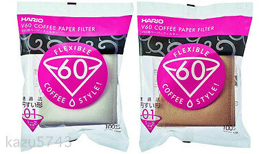 Hario V60 Coffee Paper Filter 01 W M White Natural VCF-01-100W VCF-01-100M 100